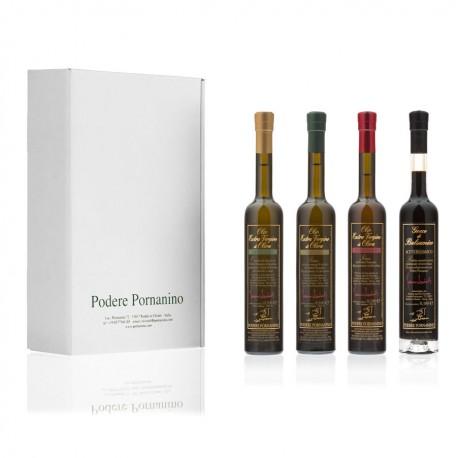 1 Olio Extra Vergine di Oliva (0,1l) + 1 Aceto Balsamico + 1 Olio di Oliva Tartufo (0,1l) + 1 Olio di Oliva Peperoncino (0,1l)